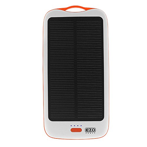 Ezopower High Capacity 10000Mah 2.1A 2-Port Portable Solar External Backup Battery Charger - White/Orange For Iphone 5S 5C 5 4 4S Ipad Mini, Samsung Ativ Se, Galaxy S5, Galaxy S4, Galaxy Note 3 Iii, Htc One M8, One Max T6, Lg G3, Optimus G Pro, Lucid 3 An