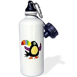 3dRose wb_196064_1 Colorful Toucan Art Sports Water Bottle, 21 oz, White