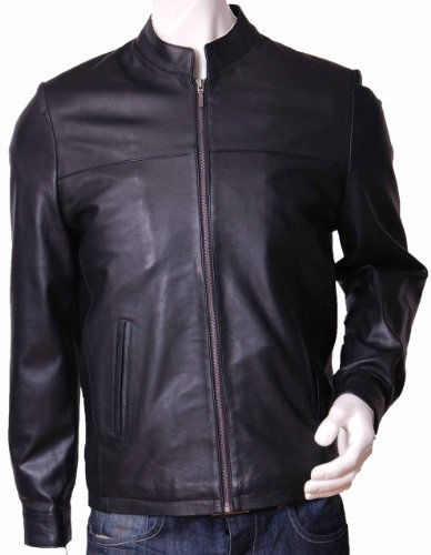 Mens Semi Fitted Biker Style Leather Jacket Sylvester Black Gents Biker Style Jacket (XL)