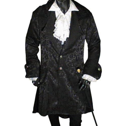 Victorian Gothic Medieval Mens Frock Coat, Black - L