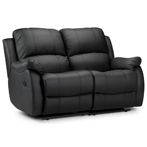 WorldStores Essentials Anton Reclining 2 Seater Sofa - Double Recliner - Two Seats - Real Leather - Black - Padded - Fire-retardant