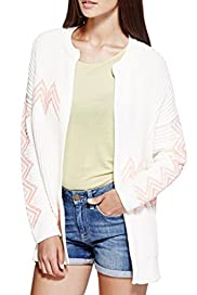 Open Front Chevron Stitch Cardigan [T69-2949J-S]