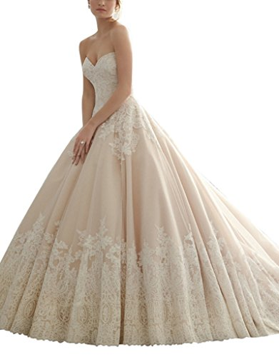 Customer Guide: VenusDress Strapless Lace Applique Wedding Dresses Satin Train Bridal Ball Gowns