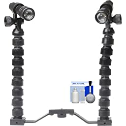 2 Intova Tactical Waterproof Underwater High Power LED Torches with Brackets & Flex Arms + Cleaning Kit