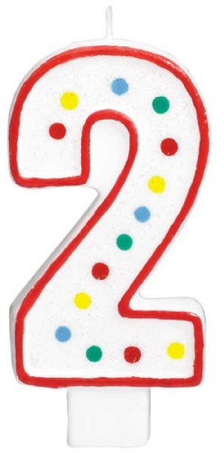 "Amscan Classic Birthday Numeral #2 Candle in Red Outline & Colorful Polka Dots Design, Multicolored, 5"" - 1"