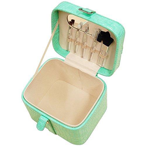 Mele & Co-Borsetta Similpelle verde Vanity, Set con spazzola e specchio