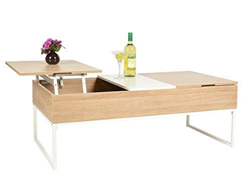 ts-ideen Tavolino da salotto di design Lounge Style color Faggio con doppio vano interno