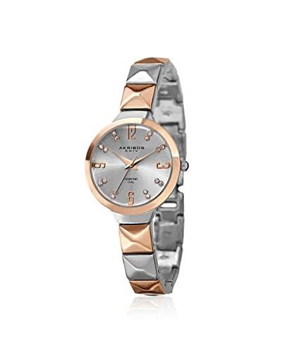 Akribos XXIV Women's AK793TTR Diamond Two-Tone Rose/Silver/Silver Alloy Watch