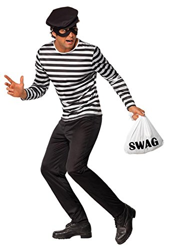 Smiffy's Men's Bank Robber Costume with Top Trousers Eyemask Cap and Swag Bag