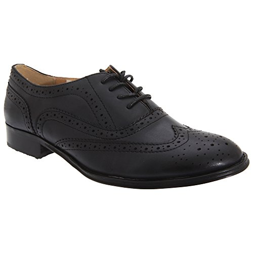 Boulevard Womens/Ladies Lace Brogue Shoes (8 US) (Black)