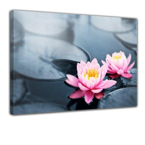 "Bilderdepot24 Leinwandbild ""Lotusblüte"" - 70x50 cm 1 teilig - fertig gerahmt, direkt vom Hersteller"