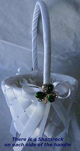 White Wedding Flower Girl Basket for Irish, St. Patrick and Shamrock Wedding Themes. It Is Hand Woven and Embellished with Swarovski Crystals and a Silver and Green Crystal Studded Shamrock.