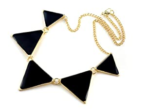 Black Enamel Triangle Spike Geometric Choker Bib Necklace