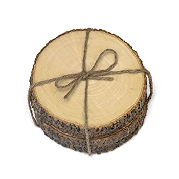 Lipper International 1034 Acacia Tree Bark Coasters, Set of 4