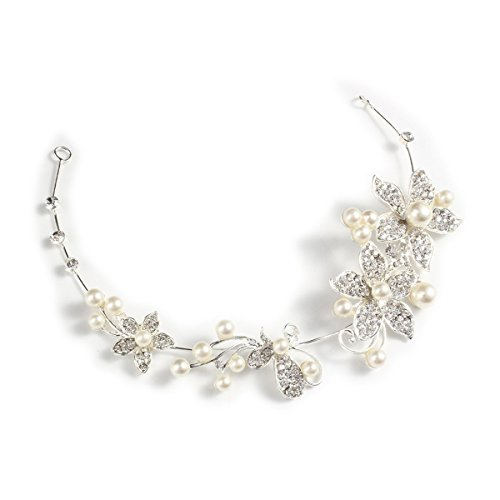 Tinksky Women's Wedding Bridal Crystal Rhinestones Pearls Decor Hair Band Headband Tiara Headdress