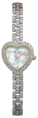 Geneve 14k Solid Gold Diamond Heart Shaped Women's Watch - MOP - W21300