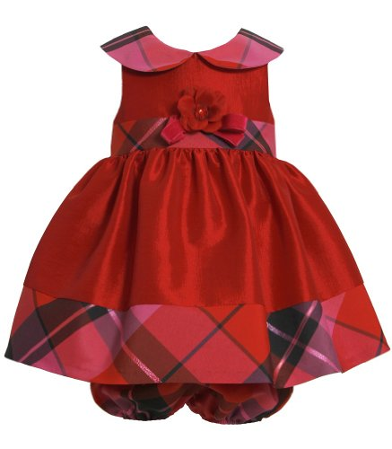 Bonnie Baby Baby-Girls Newborn Shantung With Plaid Trim Dress, Red, 3-6 Months front-1010553