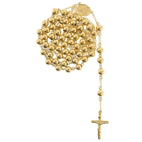 Gold Plated Rhodium Rosary with 8mm Beads - Blessed Virgin Mary Symbol Centerpiece - 26
