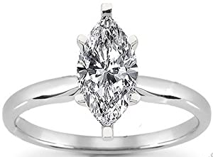 3/8 Carat (ctw) 4 Prong Marquise Cut Diamond Solitaire Engagement Ring in 14k White Gold (I SI2)