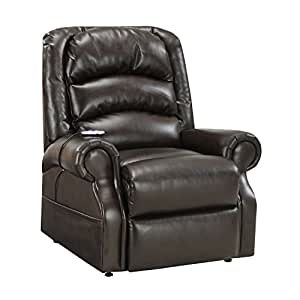 power lift chair with heat massage chocolate bonded leather