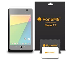 FoneM8® - New 2013 Google Nexus 7 II 2 Screen Protector (PACK OF 3) Includes Microfibre Cleaning Cloth And Application Card