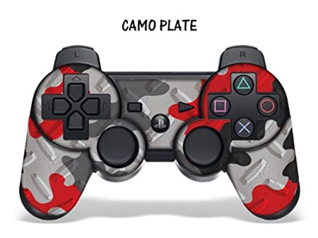 Designer Skin for Playstation 3 Remote Controller - Camoplate Red