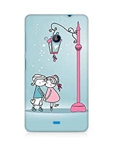 Amez designer printed 3d premium high quality back case cover for Microsoft Lumia 535 (Anime Cartoon Sweet Lover Couple Kissing Winter Street Light)