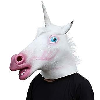 Amazon.com: Unicorn Horse Head Mask Latex Halloween Party ... Unicorn Head Mask Amazon
