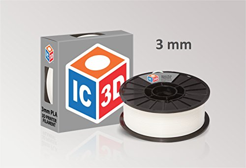 IC3D High Quality White 3mm PLA 3D Printer Filament - 2lb Spool - Dimensional Accuracy +/- 0.05mm - Professional Grade 3D Printing Filament - MADE IN USA