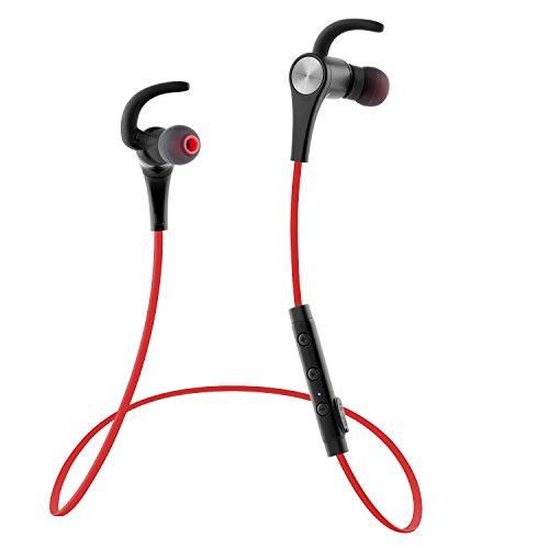 Bluetooth イヤホン SoundPEATS(サウンドピーツ) イヤホン 高音質 apt-Xコーデック採用 防水 防滴 ランニング中でも耳から外れにくい スポーツ仕様 Bluetooth ヘッドホン ハンズフリー通話 CVC6.0ノイズキャンセリング搭載 ワイヤレス イヤホン 【メーカー直販/1年保証付】 Q12 レッド
