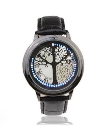 Bestfire® Stainless Steel Material Elegant Design Blue Hybrid Touch Screen Led Watch,Come With Free Keychain High Class Design,Leather Band,Support Touchscreen