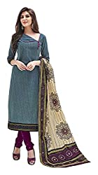 PRIYALAXMI Women's Cotton Unstitched Dress Material (Blue)