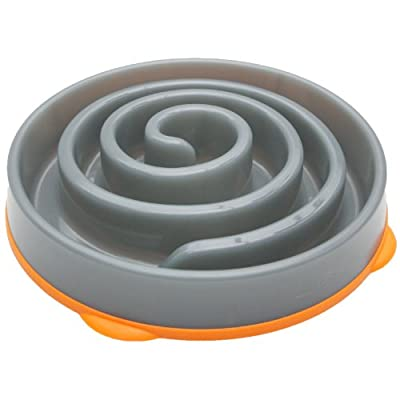 Kyjen 2869 Slo-Bowl Slow Feeder Slow Feed Interactive Bloat Stop Dog Bowl, Large, Grey