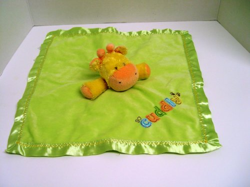 Cute Yellow Giraffe Lovey with Green Security Blanket - 1