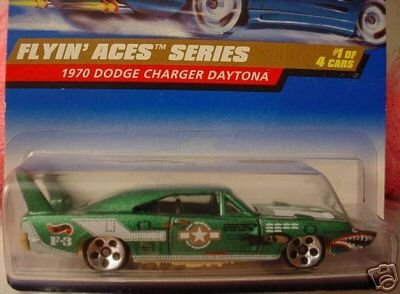 Mattel Hot Wheels 1998 1:64 Scale Flyin Aces Series Green 1970 Dodge Charger Daytona Die Cast Car 1/4 - 1
