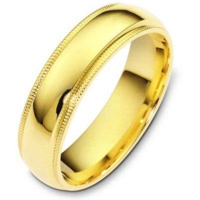 14K Yellow Gold, Comfort Milgrain Wedding Band 6MM (sz 4.5)