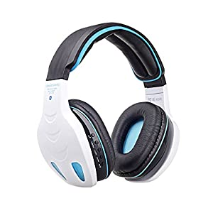 VersionTech White Professional Bluetooth Wireless PC LED Light Gaming Bass Stereo Noise Canelling Over-ear MP3 Headset Headphone Earphones Headband with Mic HiFi Driver For Laptop Computer Apple iPhone 6 iPhone 6 Plus iPhone 5S HTC One M9 M8 Sony Xperia L