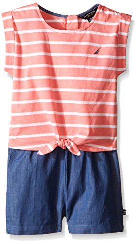 Nautica Toddler Jersey Stripe and Chambray Mix Romper, Soft Coral, 4T