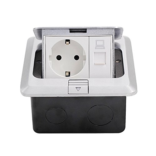 bieten BAYTTER® Versenkbare Tischsteckdose 1-2 Fach Bodensteckdose Steckdose für Küchenarbeitsfläche Boden Edelstahl (1 Fach)