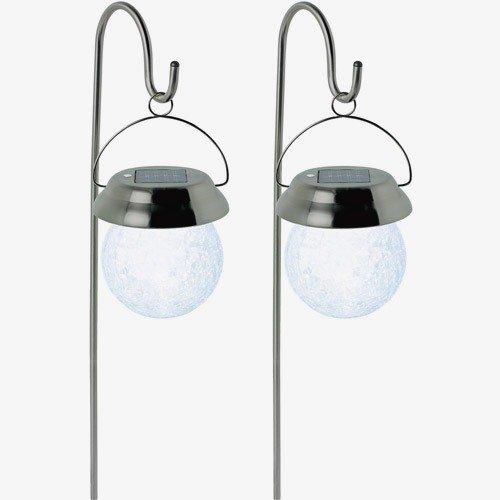 Smart Solar Hanging Crackle Globe on Hook 2pk Colour Chaning LED Light