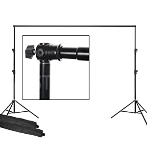 ePhoto Telescopic Backdrop Background Support Stand 2 Piece 7 Feet Stands and 6 Feet Cross Bar FT9116