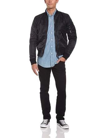 Schott Nyc Ac - Blouson - Teddy - Manches longues - Homme - Noir (Black) - Large (Taille fabricant: L)