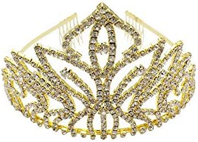 WonderfulDress Gold Rhinestone Large Size Princess Crown Comb Tiara