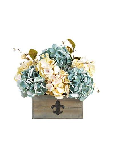 Creative Displays Hydrangea In Wooden Basket, Blue/Cream