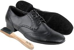 Very Fine Men\'s Salsa Ballroom Tango Latin Dance Shoes Style PP301 Bundle with Dance Shoe Wire Brush, Black Leather 8.5 M US Heel 1 Inch