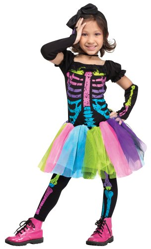 Girl's Funky Bones Costume: Girl's Skeleton Halloween Costume WB