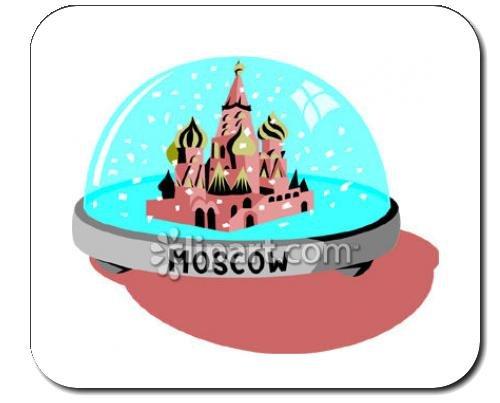 """Mauspad mit der Grafik: Moskau, Kreml, """"Schneekugel"""", """"Red Square"""", Russland"""