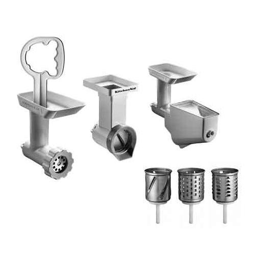 KitchenAid Mixer Attachment Pack. Grinder/ Mincer, Slicer/ Shredder, Fruit & Vegetable Strainer