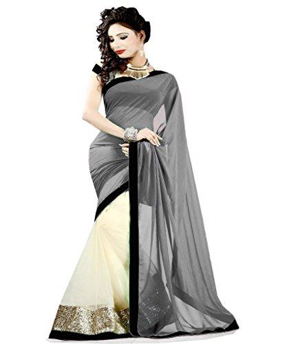 Winza Grey beige party wear chiffon saree for ladies & women