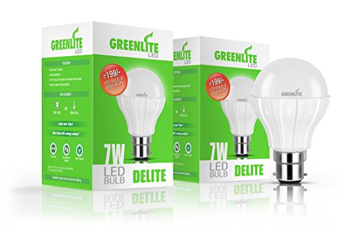 7W B22 LED Bulb (White, Set of 2)